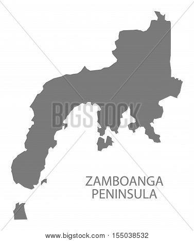 Zamboanga Peninsula Philippines Map grey vector illustration