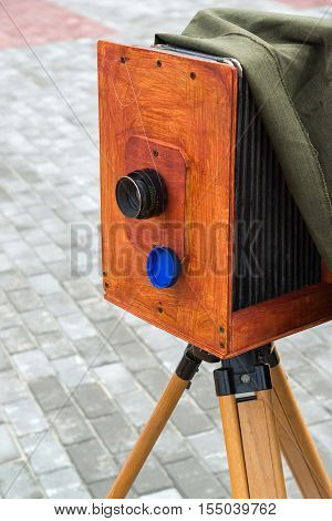 The old photo camera on the street