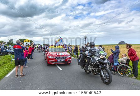 Ardevon France - July 2 2016: Christian Prudhomme the general director launching the Tour de France at Km 0 close to Mont Saint Michel Monastery in ArdevonFrance on July 22016.