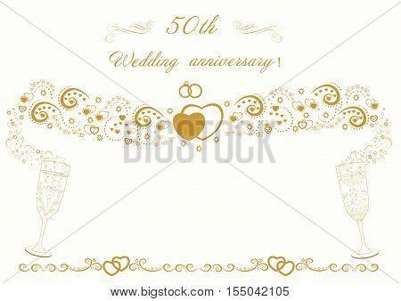 50th Wedding anniversary Invitation.Beautiful vintage card vector illustration