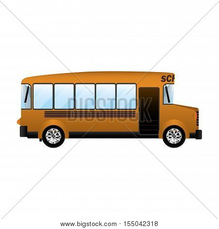 yellow school bus icon over white background. transportation vehicle design. vector illustration