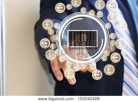 Businessman pressing the product barcode on the touch panel. Barcode and the dollar, the Euro, the currency network. Web icons.