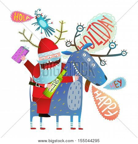 Reindeer and Santa monsters with bottle of drink and present winter holidays happy crazy cartoon. Vector illustration.