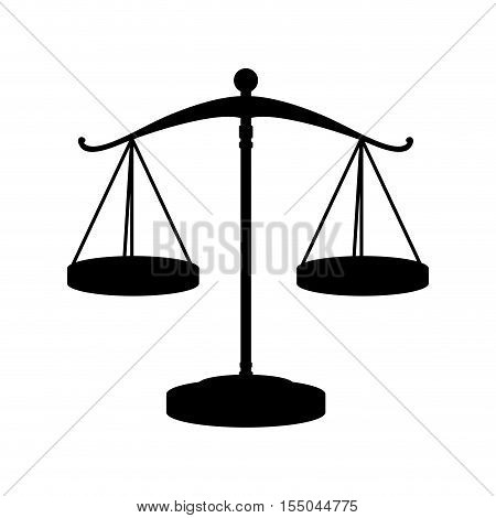 silhouette of scale of justice law icon over white background. vector illustration