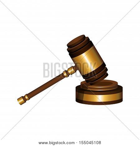 hammer of justice law icon over white background. vector illustration