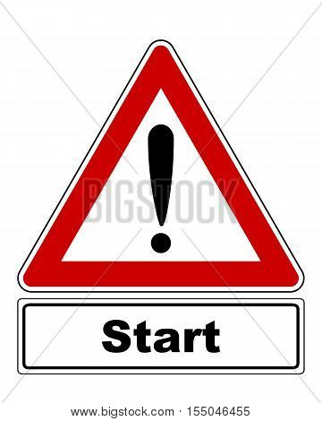Detailed and accurate illustration of attention sign with exclamation mark and added information