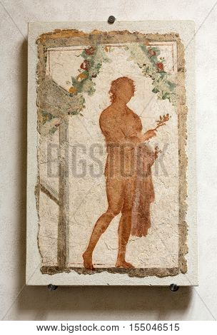 ROMA, ILTALY - JUNE 12, 2015: Ancient mosaic in baths of Diocletian (Thermae Diocletiani) in Rome. Italy