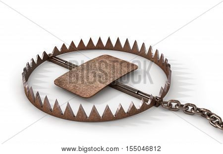 Concept of danger. Metal bear trap. Business-trick. 3D illustration