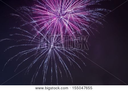 Red And Blue Fireworks During The Celebrations At Night