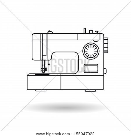 Vector sewing machine in line art style. Isolated icon with shadow at bottom