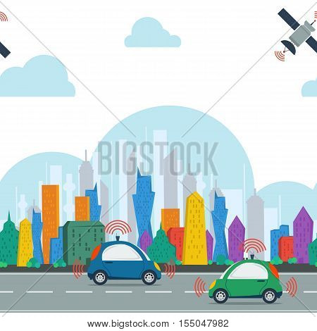 Vector horisontal seamless pattern with autonomous cars in the city with satellite control at daytime. Two self driving cars on the road in colored megalopolis