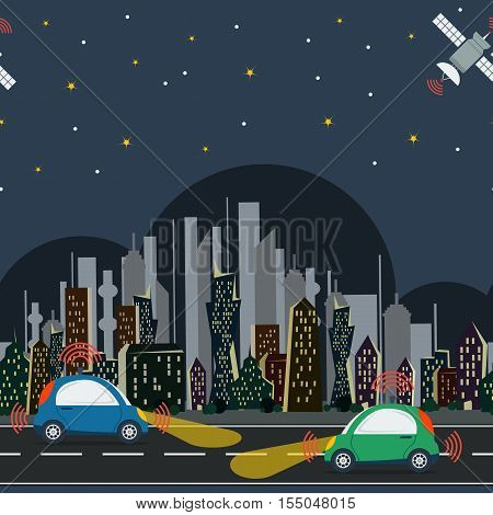 Vector horisontal seamless pattern with autonomous cars in the city with satellite control at night time. Two self driving cars on the road in colored megalopolis