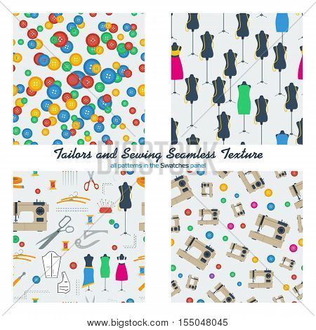 Vector four seamless patterns with colored buttons, tailors dummies and sewing equipment, machine and handicraft tools in flat style. All patterns in swatches panel