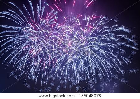 Spectacular fireworks during the celebrations on black background