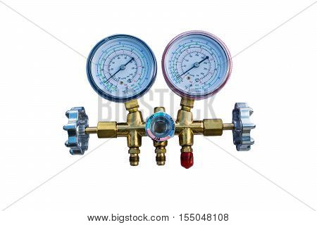 Coolant gauges on White background, refrigerant, air