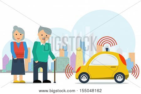 Vector Concept For Advantages of Self Driving Car. Elderly Couple Near Yellow Autonomous Driverless Taxi on Megapolis Background in Flat Style