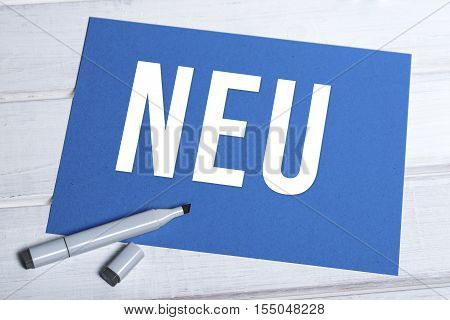 Neu Blue Board With German Writing