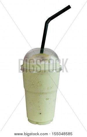 Kiwi Smoothie with straws in plastic clear cup. Isolated on white with work paths