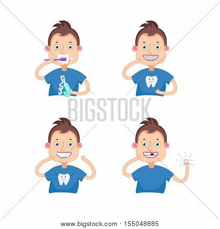 Set Vector illustration.Dental children illustration.Beautiful, perfect smile, healthy teeth.Boy with braces.Boy lost a tooth.Boy brushing teeth.