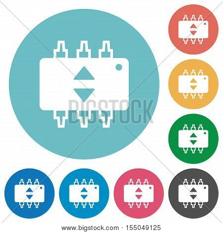 Hardware fine tune white flat icons on color rounded square backgrounds