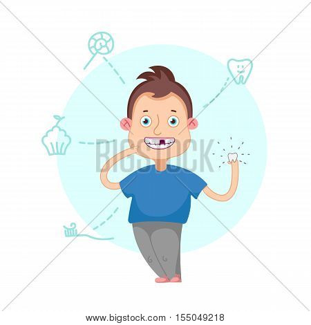 Funny cartoon character. Vector illustration.Dental children illustration. Boy lost a tooth. Pull teeth. Baby tooth