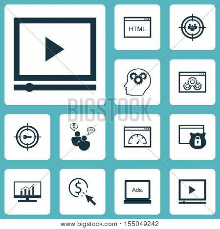 Set Of Advertising Icons On Video Player, Keyword Marketing And Security Topics. Editable Vector Ill