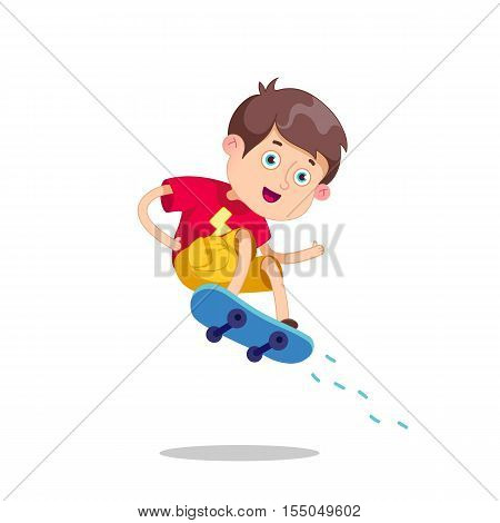 Funny cartoon character. Vector illustration.Skateboarding boy.Happy Cartoon Skateboard Boy