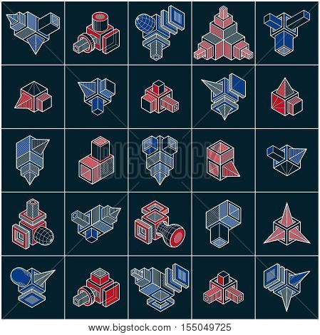 Engineering constructions collection trigonometric abstract vector objects set.