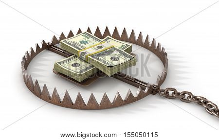 Finance risk concept. Money on bear trap. 3d illustration