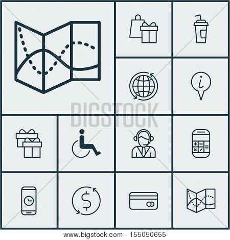 Set Of Airport Icons On Shopping, Money Trasnfer And Present Topics. Editable Vector Illustration. I