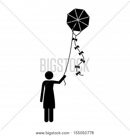 silhoutte of woman flying a kite with bowties over white background. vector illustration