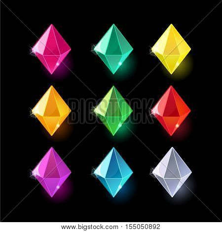 Set of cartoon different color crystals, gemstones, gems, diamonds vector gui assets collection for game design.isolated vector elements.Gui elements, vector games assets.menu for mobile games