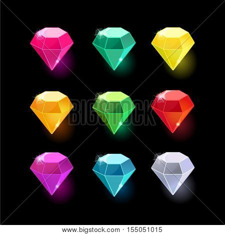 Set of cartoon different color crystals, gemstones, gems, diamonds vector gui assets collection for game design.isolated vector elements.Gui elements, vector games assets.menu for mobile games.Diamonds