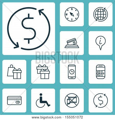 Set Of Travel Icons On World, Calculation And Money Trasnfer Topics. Editable Vector Illustration. I