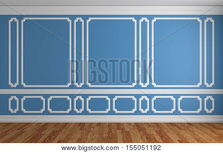 Blue wall with white decorative moldings elements on wall in classic style empty room with wooden parquet floor and white baseboard classic style architectural background 3d illustration interior