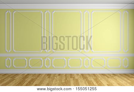 Yellow wall with white decorative moldings elements on wall in classic style empty room with wooden parquet floor and white baseboard classic style architectural background 3d illustration interior
