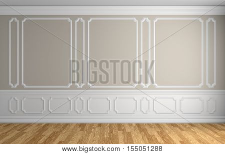 Beige wall with white moldings and decorations on wall in classic style empty room with wooden parquet floor and white baseboard classic style architectural background 3d illustration interior
