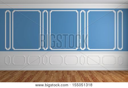 Blue wall with white moldings and decorations on wall in classic style empty room with wooden parquet floor and white baseboard classic style architectural background 3d illustration interior