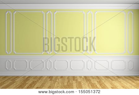 Yellow wall with white moldings and decorations on wall in classic style empty room with wooden parquet floor and white baseboard classic style architectural background 3d illustration interior