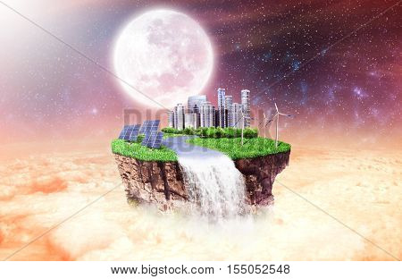 Concept of freedom. Island in sky with future city solar panels windmill and forest on sky background. Safety island concept. Religion. The world after the apocalypse.