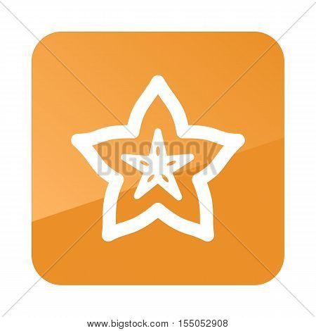 Starfruit Carambola Carom outline icon. Tropical fruit. Vector illustration eps 10