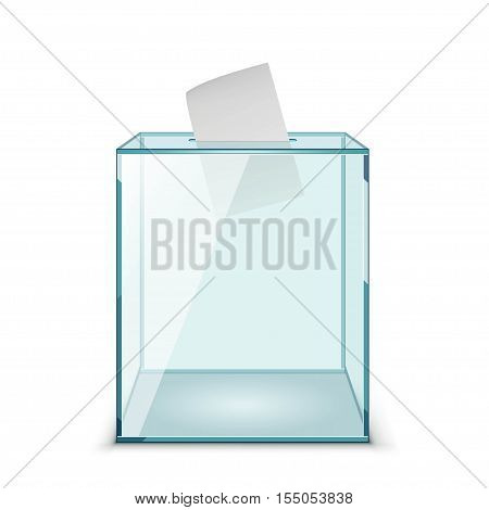 Ballot box with Ballot paper isolated on a brown background