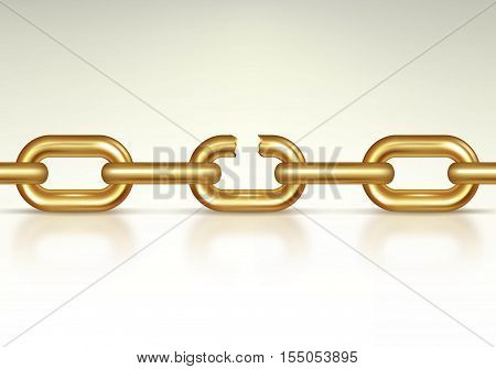 Realistic Gold Chain Breaking. Symbol Of Freedom. Vector illustration