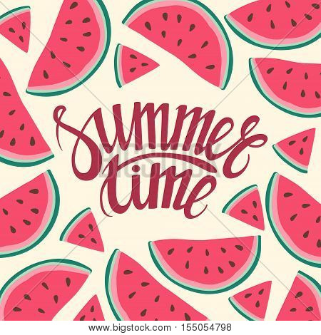 Vector frame background card Summer Time Seamless background with watermelon slices. Vector illustration. design for greeting card and invitation of seasonal summer holiday