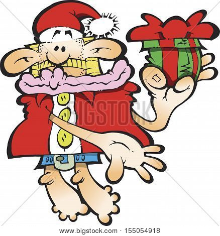 A Silly Santa Claus holding a gift with a red bow