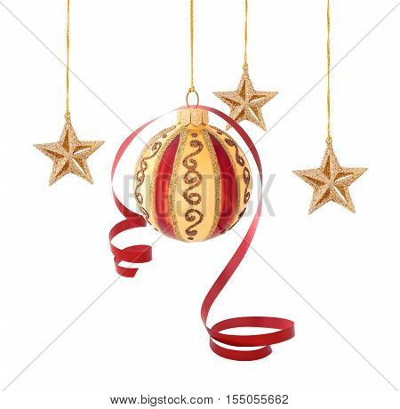 Ball with red ribbon and gold stars isolated on white background.