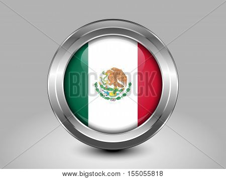 Flag Of Mexico. Metal And Glass Round Icon