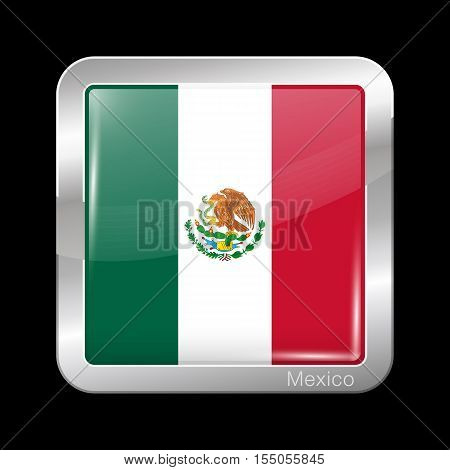 Flag Of Mexico. Metal Icon Square Shape