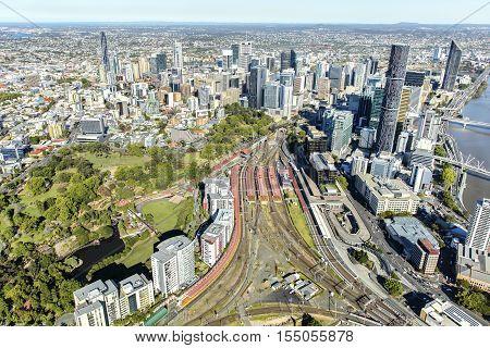 BRISBANE, AUSTRALIA - OCTOBER 18 2016: Brisbane CBD cityscape and Roma Street station, view form above