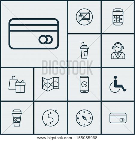 Set Of Transportation Icons On Accessibility, Takeaway Coffee And Plastic Card Topics. Editable Vect